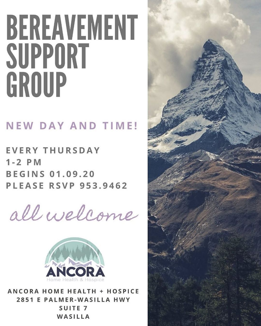 Ancora Home Health & Hospice Bereavement Group Flyer